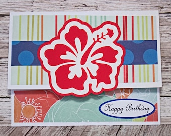 Vibrant Red Hibiscus Gift Card Holder, Tropical Floral Money Card, Hawaiian Flower Card, Handmade Money Card, Colorful Birthday, Luau Party