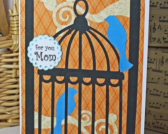 Custom Message on Front, Handmade Birdcage Card, Mother's Day, Birthday Greeting, Fancy Bird Cage, Whimsical Card Design, Sitting on Branch