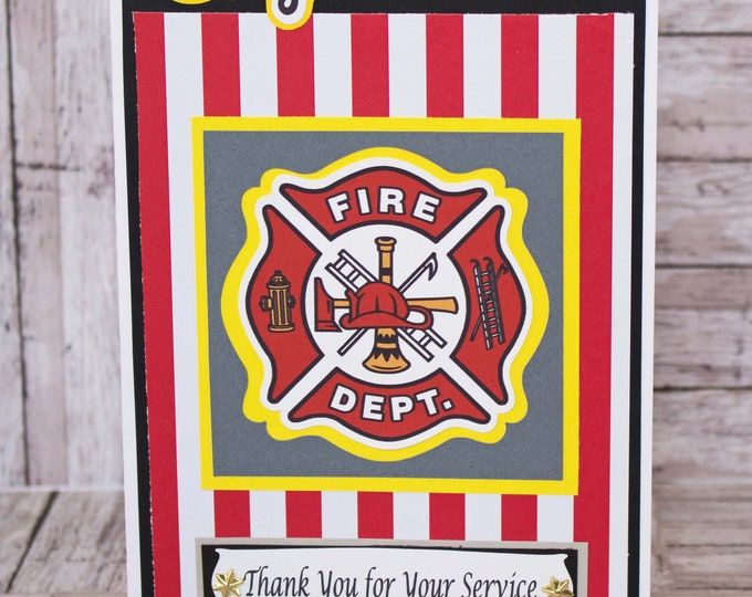 Firefighter Card, Handmade, Card, Retirement, Fireman, Promotion, Graduation, Firewoman, Congrats Card Thank You Card, Fire House, Fire Dept