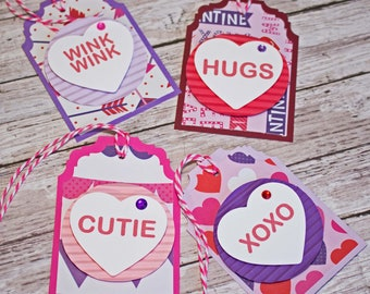 Valentine Heart Candy, Set of 4 Hang Tags, Valentine's Day Party Decor, Treat Bag Tag, Valentine Gift Tag, Favor Tag, Gift Bag Embellishment