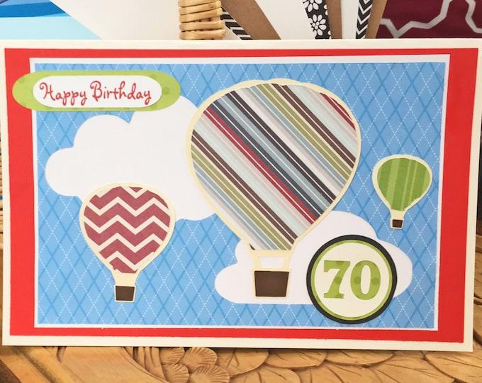 Personalized, Hot, Air, Balloon, Birthday,  Card, Custom, Handmade, Men, Women, For Him, Hot Air Balloon, Greeting Card, Balloons, Clouds