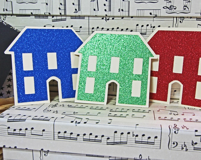 3 House Die Cuts, Christmas House Die Cut Set, Scrapbook, Housewarming, First New Home, Handmade Die Cut, Holiday Gift Hang Tag, Real Estate