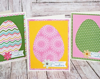 Easter Egg Card Set, Set of 3 Easter Cards, Handmade Easter Greeting Cards, Colorful Eggs, Spring Patterns, Happy Easter Greetings, All Ages