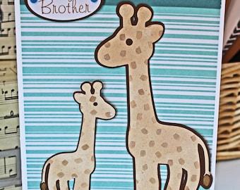 Big Brother Card, Sibling Card, Giraffe Card, Baby Shower Card, Handmade Card, New Sibling Card, New Brother Card, Giraffe Baby Card, Safari