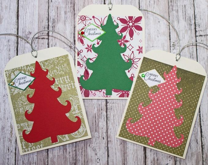 Set of 3, Large Christmas Tree Gift Tags, Christmas Tags, Gift Tags,  Holiday Tags, Handmade Tags, Large Gift Tag, Tree Gift Tags, Gift Wrap