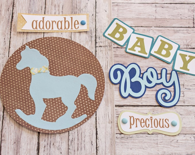 Baby Boy Die Cut Set, Set of 5 Layered Die Cuts, Scrapbook Embellishment, Rocking Horse, Baby Book, Handmade, Newborn Boy, Antique Toy Theme