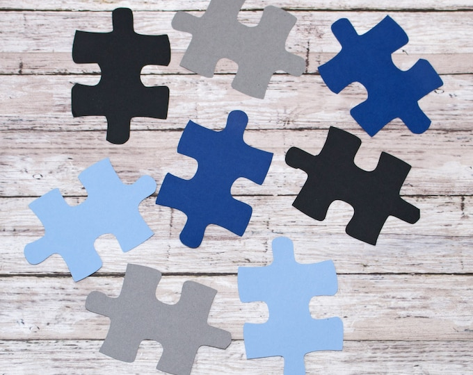 Any 4 Colors, Puzzle Piece Die Cut Set, Set of 8 Large, Set of 16 small, Multi-Colored Diecut, Game Night Scrapbook Page, Custom Personalize