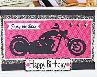 Pink Motorcycle Card, Enjoy the Ride, Birthday Card, Mother's Day Card, Handmade Greeting, Lady Biker Chick, Congrats, Female Motorcyclist