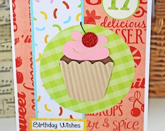Custom Cupcake Birthday Card for Any Age - Colorful, Glitter, Cherry, Cupcake, Birthday, Handmade, Card, Sweets, Dessert, Personalized, cake