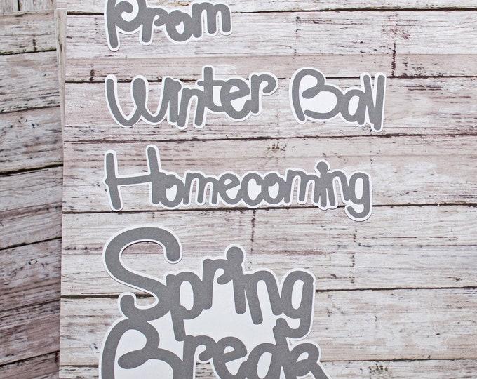 Any Color, Die Cut Set, High School Events, Scrapbook, Die Cuts, School Years, Prom, Winter Ball, Homecoming, Spring Break, School Dances