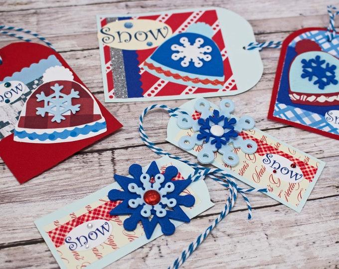 Assorted Winter Hat Gift Tags, Handmade Gift Tag Set, Holiday Hang Tag, Snowflake Gift Wrap Embellishment, Ski Snowboard Kids Teens Adults