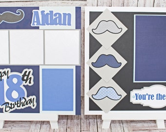 Any Birthday Year, Father's Day, Any Color, Handmade Scrapbook Page Set, You're the Man, Custom Mustache, Premade Kit, Personlized Name, Men