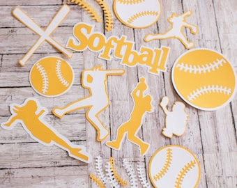 Any Color, Girls Softball, Die Cut Set, Female, Scrapbooking Design, High School, Soft Baseball, Team Color, Handmade Diecuts, Party Decor