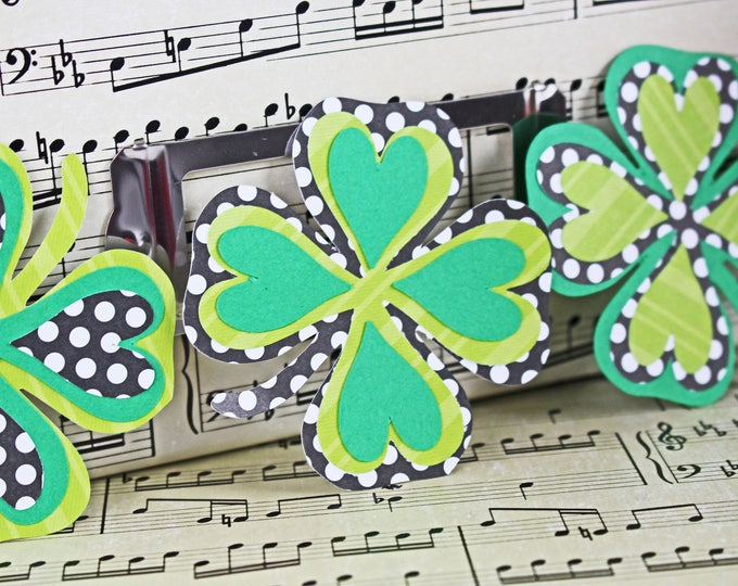 Set of 3, 4 Leaf Clover Die Cuts, St Patricks Day, Scrapbook Die Cuts, St Paddy's, Irish Scrapbook, Irish Die Cuts, St Paddy's Die Cuts