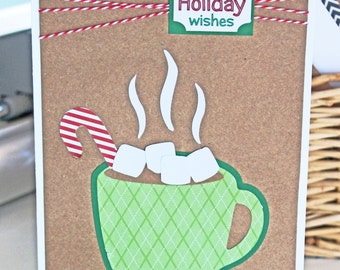Hot Cocoa Holiday Card, Handmade Card, Hot Chocolate Card, Handmade Christmas Card, Warm Holiday, Warm Wishes, Hot Chocolate, Christmas Card