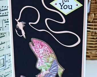 Custom Greeting, Mother's Day Card, Birthday Card, Fishing Card, Card for Her, Fly Fishing Card, Pink Fish Card, Female Card, Mom Card, Fish