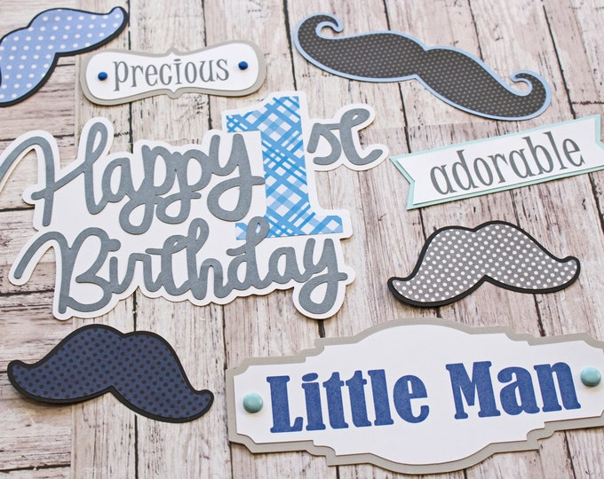 Any Colors, Any Birthday Year, Set of 8, Layered Die Cuts, Scrapbook Embellishment, Little Man, Baby Book, Handmade, Baby Stache, Mustache