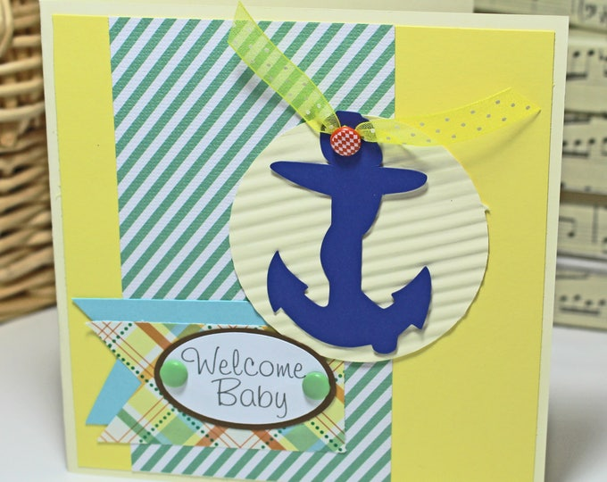 Nautical Baby Card, Handmade Card, Baby Shower Card, Anchor Card, Newborn Baby Congrats, Baby Congratulations, Expecting Parent, Sailor Baby