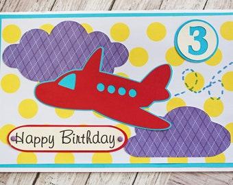 Any Birthday Number, Airplane Birthday Card, Custom Card, Little Boy, Toddler Kid Birthday, Handmade Greeting, Child Aviation Theme Party