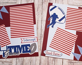Pick Your Colors, Game Time Scrapbook Pages, Custom Football Page Set, Premade Scrap Book, Personalized, High School Mascot, Team Spirit