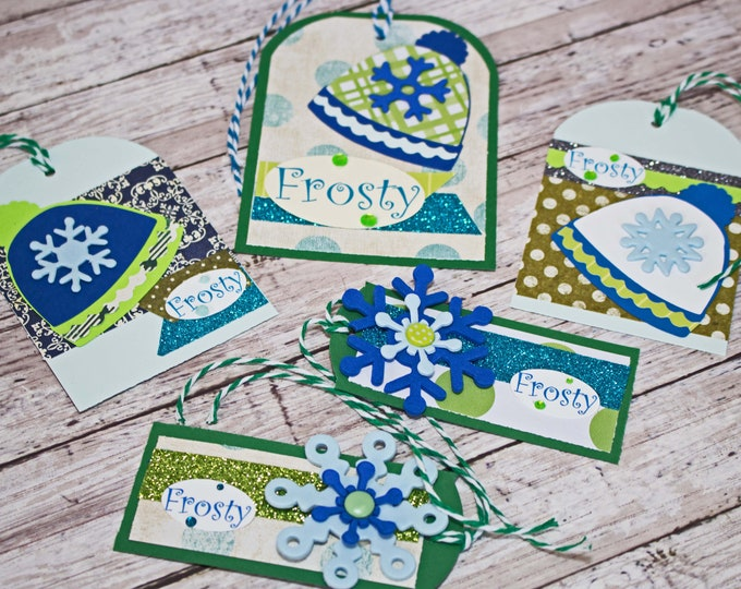 Hand Crafted Gift Tag Set, Winter Hat Holiday Hang Tag, Snowflake Gift Wrap Embellishment, Ski Snowboard, Kids Teens Adults, Any Age Gender