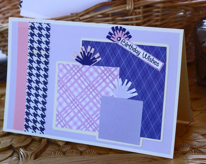 Pink and Purple, Handmade Card, Birthday Gifts Card, Girls Birthday Card, Birthday Presents Card, Colorful Kids Birthday Card, Teen Birthday