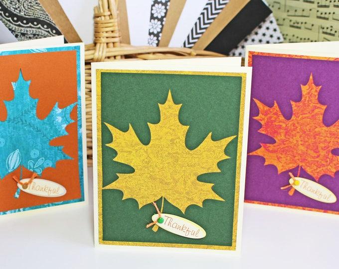 Set of 3, Fall Leaf Card Set, Thanksgiving Leaf Card Set, Thankful Card Set, Colorful Fall Leaf Cards, Handmade Cards, Thanksgiving, Harvest