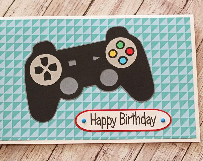 Game Controller Card, Handmade Birthday Card, Card for Teenagers, Tween Birthday, Video Game Card, Custom Greeting, Gamer Birthday Card, Kid