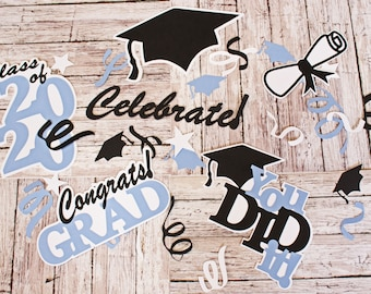 Any 2 Colors, Set of 20, Layered Diecuts, Graduation Die Cuts, Personalized Name, Custom Diecut Set,  Congrats Grad, Scrapbook Embellishment