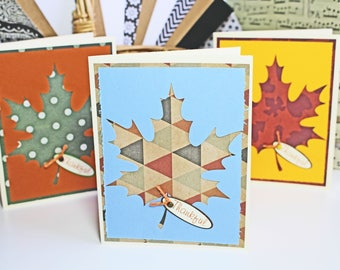 Fall Leaf Card Set, Thanksgiving Cards Set, Fall Harvest Card Set, Maple Leaf Cards, Thanksgiving Cards, Thankful Cards, Handmade, Birthday