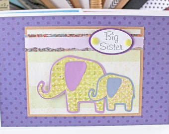 Custom, Big Brother Card, Big Sister Card, New Sibling Card, Baby Elephant, Handmade Card, Baby Shower, New Baby Sister, New Baby Brother