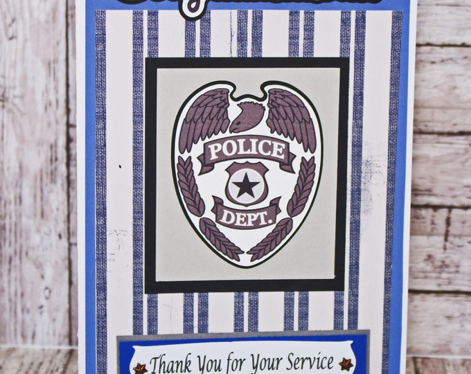 Police Officer Card, Law Enforcement Card, Handmade Card, Retirement, Police, Police Academy, Graduation, Police Dept, Congrats, Thank You