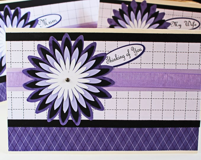 Custom Message, Chrysanthemum Card, Birthday Greeting, Mother's Day, Flower Mum Layers, Handmade Card, Floral Card for Her, Purple and Black