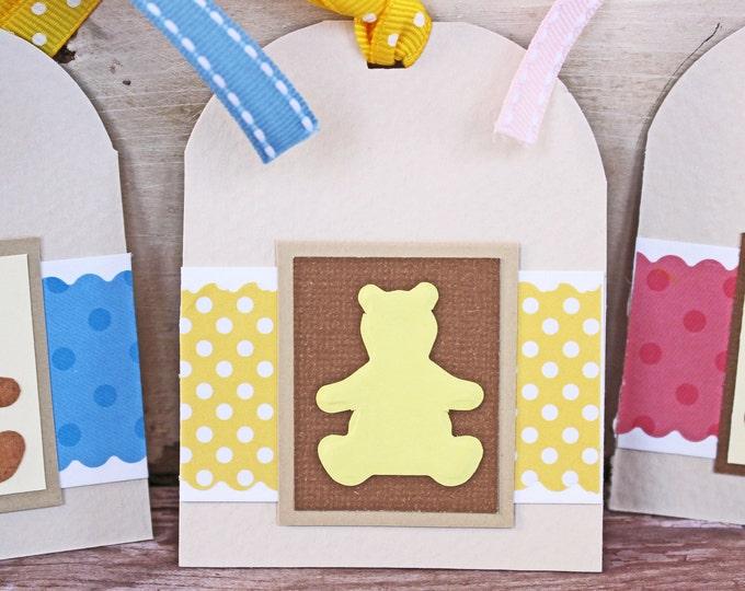 Set of 3, Teddy Bear Tags, Handmade Tags, Baby Gift Tags, Gift Tags, Baby Shower, Tags, New Baby, Teddy Bear, Hang Gift Tag, Baby Card, Tag