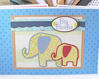 Custom, Big Brother Card, New Sibling Card, Baby Elephant, Handmade, Baby Shower, Newborn Congrat, Safari Animal, Noah's Ark, Baby Animal