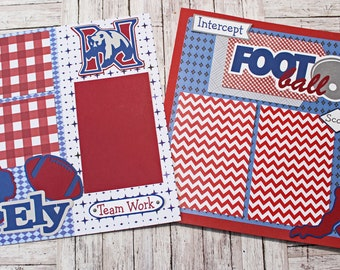 Pick Your Colors, Custom Made, Football Scrapbook Page Set, Premade Football Pages, Personalized, Team Mascot, School Spirit, High School