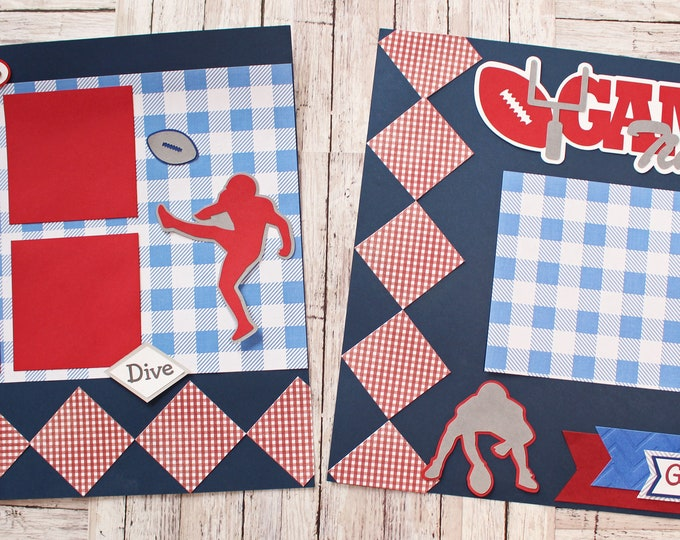 Custom Colors, Game Time Scrapbook Page Set, Specially Designed, High School Mascot, Premade Football Pages, Personalized, Team Spirit, YAFL