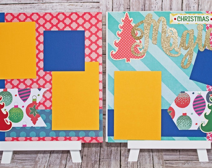 Whimsical Christmas Scrapbook Page Set, Holiday Trees, Christmas Ornaments, Premade Scrapbook Page, Layered Die Cut, Elegant Handmade Layout