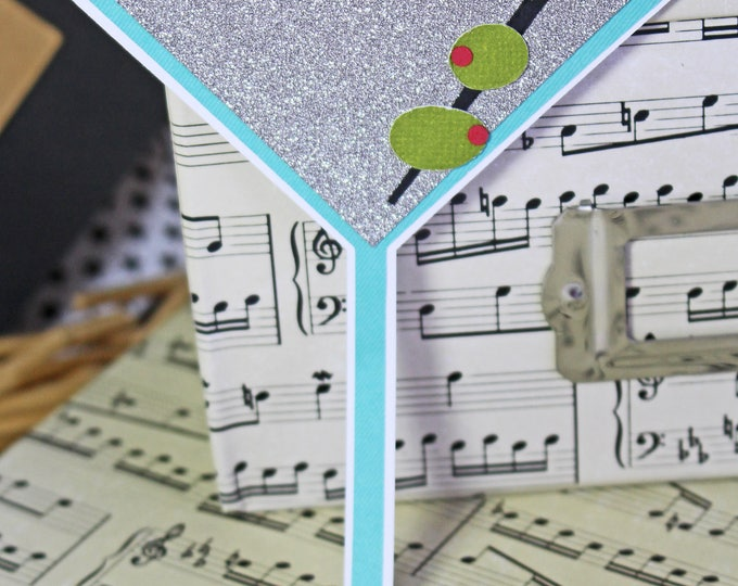 Martini Die Cut, Handmade Die Cut, Martini with Olives, Dirty, Martini Cocktail, Martini Scrapbook, Birthday Drink, Birthday Cocktail, Adult
