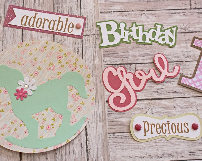 Birthday Girl, Any Age, Set of 6 Layered Die Cuts, Scrapbook Embellishment, Rocking Horse, Baby Book, Handmade, Little Girl, Antique Theme