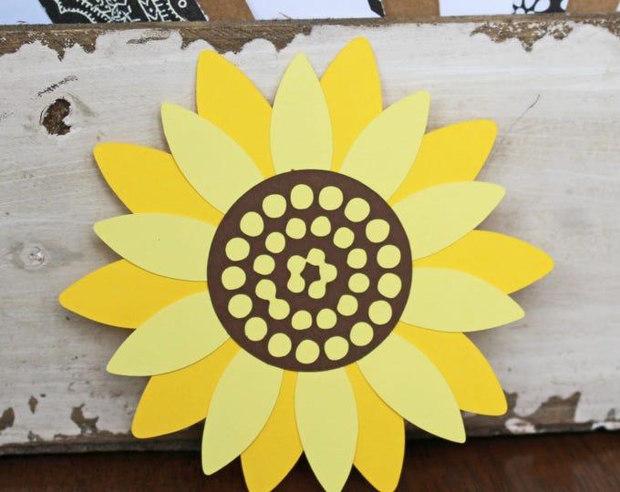 Sunflower Die Cut Set, 2 Flower Die Cuts, Summer Fall Sunflower, Handmade Embellishment, Garden Scrapbook Pages, Spring Flower Scrapbooking