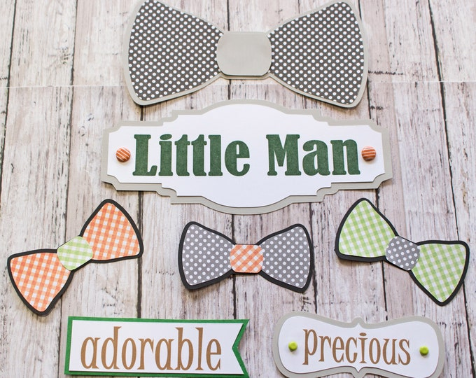 Any Colors, Set of 7, Layered Die Cuts, Scrapbook Embellishment, Little Man, Baby Boy Book, Handmade, Little Boy, Bow Tie, Baby Shower Theme