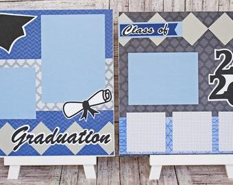 Custom Colors & Class Year, Graduation Scrapbook Page Set, High School, College, Congrats Grad, Personalized Gift, Handmade, Memory Book