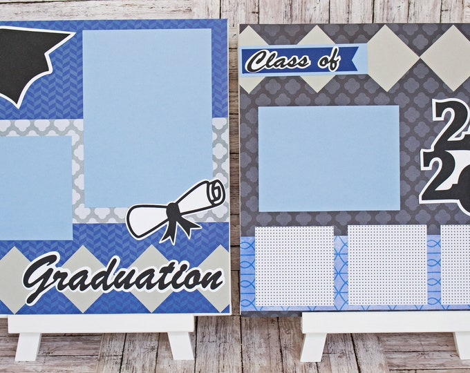 Custom Colors & Class Year, Graduation Scrapbook Page Set, High School, College, Congrats Grad, Personalized Gift, Handmade, Memory Book