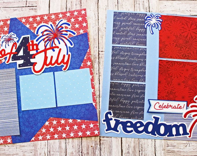 Celebrate Freedom, 4th of July, Scrapbook Pages, Premade Scrap Book Kit, Fireworks, Red White and Blue, Independence Day, American Holidays