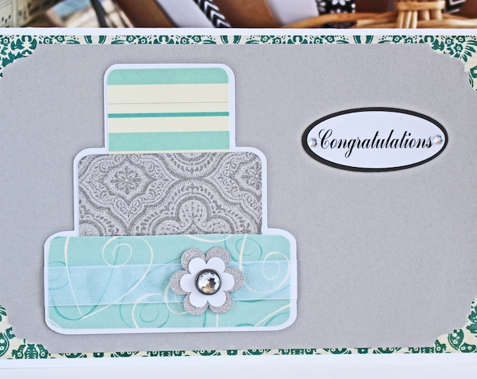 Teal Layered Wedding Cake Card - Wedding, Congratulations, Handmade, Card, Mint, Teal, Silver, Turquoise, Bride, Groom, Cake, Newlywed, Love