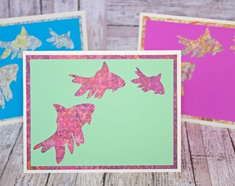 Set of 3, Fancy Goldfish Note Cards, Handmade Cards, Handmade Goldfish Card, Goldfish Card, Fancy Goldfish Card, Goldfish Card Set, Goldfish