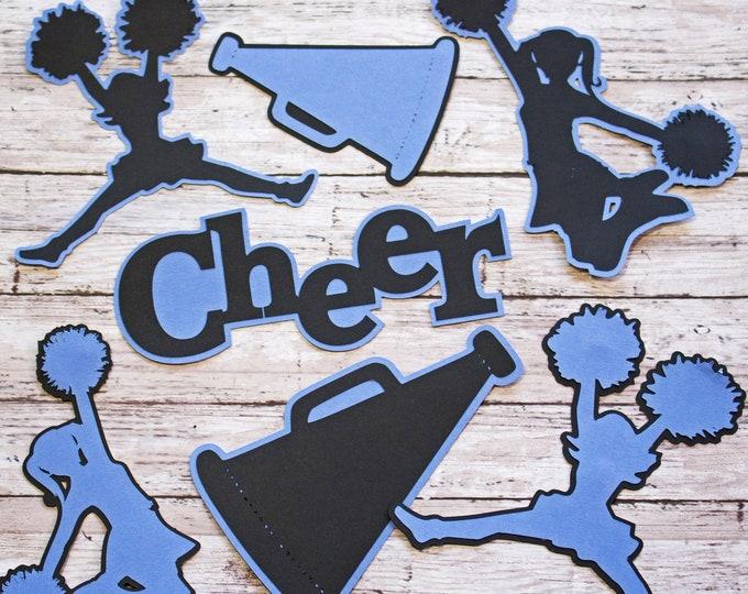 Any Color, Cheerleading Die Cut Set, Set of 7, Scrapbooking, High School, Cheer Team, Team Color, Handmade Diecuts, Memory Book, Party Decor