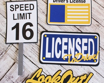 Custom Colors, Teen Driver Diecuts, Licensed to Drive, Die Cut Set, Layered Embellishments, Hand Crafted, Driver's Education, 16 Years Old