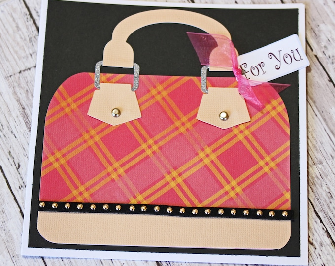 Any Occasion, Handbag Greeting Card, Mothers Day, Birthday for Her, Custom Designer Purse, Handmade Greeting, Pink and Black, Plaid Bling